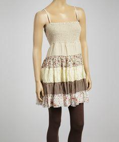 Brown & Cream Sleeveless Tunic