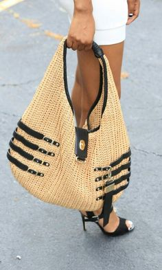 Jimmy Choo Straw Hobo Handbag Source More Jimmy Choo, Beautiful Handbags, Beautiful Bags, Hobo Handbags, Purses And Handbags, Handbag Accessories, Fashion Accessories, Leather Hobo Bags, Crochet Handbags