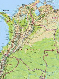 Map of Columbia with the capital Bogota. | South American Capitals ...