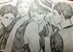 aobajousai seijou iwaizumi oikawa pencil sketch traditional 桃壱 (@momo_iti) | Twitter
