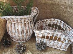 Купить Кувшинчик и корзинка - плетение из бумаги, плетение из газет, уютная кухня, для дома и интерьера, для кухни