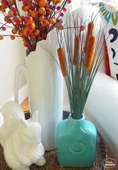 Using blue in your Fall Living Room decor at thehappyhousie #Fall Living Room #Fall Decorating Ideas #Fall Decor