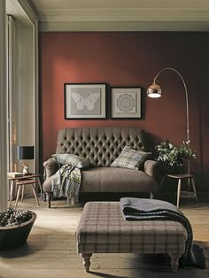 Inspired by British heritage, the terracotta colours give this living room an autumnal feel. Living Room Paint, Living Room Modern, Living Room Furniture, Living Room Decor, Living Rooms, Living Area, Ottoman In Living Room, Fixer Upper Living Room, Living Room Color Schemes