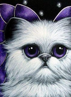 Art: LOVELY ANGEL CAT SPIRIT PURPLE WINGS by Artist Cyra R. Cancel