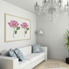 Summer Rose Stem Stencil - Buy reusable wall stencils online at The Stencil Studio