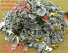 60-80pattern Mixed 100pcs Assorted Carved Charms Pendants Beads Metal Alloy Pandent Plated Antique Silver Diy Bead