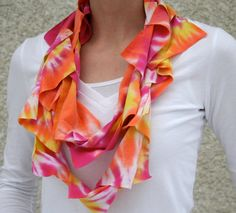 T shirt scarf infinity scarf in orange pink by TheSomedayHouse, $20.00