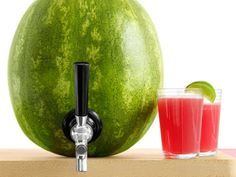 Turn your watermelon into a festive drink keg. Simply cut a lid from the top, drill a small hole near the bottom and then use a knife to widen the hole until it is slightly smaller than a keg shank. Attach the shank and fill the melon with refreshing Watermelon Sours.