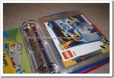 Lego Storage Binder - Great idea for all the booklets if our boys are anything like their father I will need this :) Legos, Lego Hacks, Lego Display, Lego Table, Lego Room, Lego Storage, Toy Rooms, Kids Rooms, Toy Organization