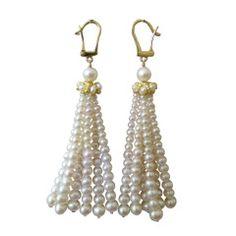 Graduated Pearl Yellow Gold Tassel Earrings | From a unique collection of vintage dangle earrings at https://www.1stdibs.com/jewelry/earrings/dangle-earrings/