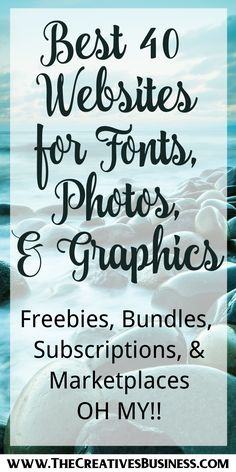 Ever wondered where graphic designers find their photos, fonts, and graphics?  Of course, they can sit for hours and design themselves but why reinvent the wheel if the image is already out there.  I have compiled a list of 40 of the best freebie, bundle, subscription, and marketplace graphic design websites for fonts, photos, and graphics. Check out the blog post here http://www.thecreativesbusiness.com/font-graphic-design-websites/ or pin to check out later.