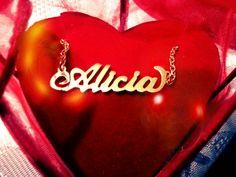 ♥ Collar de plata 950 baniado en oro de 18 #jewerly #namenecklace #alicia #mothersday