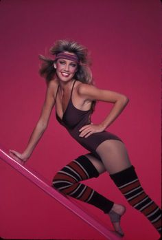 Heather Locklear sporting the 80s aerobic look.