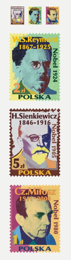 postage stamp design w/ polish nobel laureates Postage Stamp Design, Postage Stamps, Nobel Prize Winners, Stamp Collecting, My Stamp, Graphic Design Illustration, Writers, Sweden, Connection