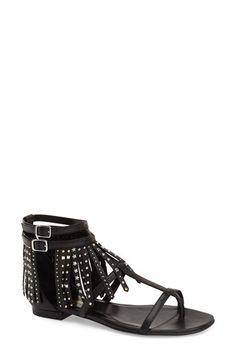Saint Laurent 'Nu' Studded Fringe Sandal (Women) available at #Nordstrom
