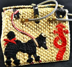 Vintage Midas of Miami Hand Decorated, Rhinestone Straw Poodle Purse 1950's #MidasofMiami #Purse
