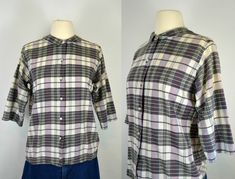 1960s/1970s Black and White Plaid Blouse by by KrisVintageClothing