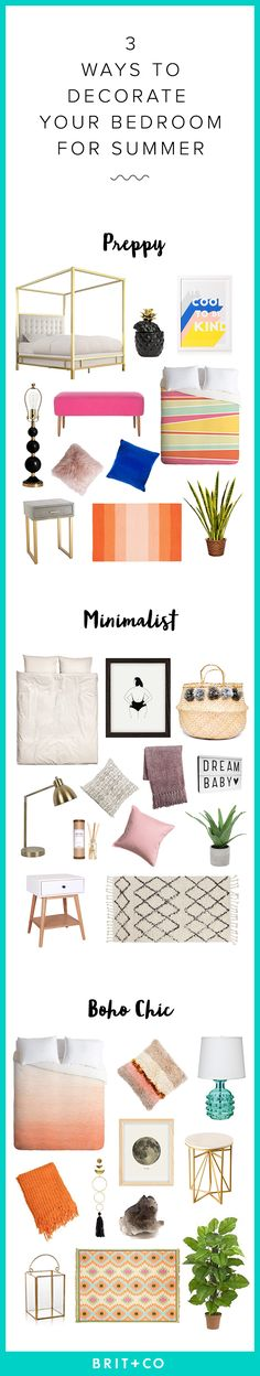 Save this to get inspiration for redecorating your bedroom to look preppy, minimalist or boho chic.