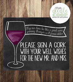 Please Sign a Wine Cork Guestbook Wedding by TheDoodleCoop on Etsy, $5.00