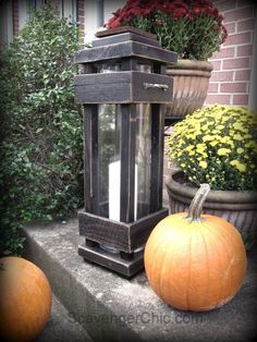 I have a great project for you today, outdoor porch lanterns. I love the tall lanterns that you find in the the home decor stores but have always found them rat…