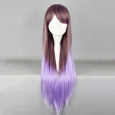 Elegant Fairy Zipper Cosplay Wig|Brown and Purple Mixed Color Cosplay Wig |80cm Princess Lolita Cosplay Wig|Elegant Fairy Zipper Brown and Purple Mixed Color 80cm Princess Lolita Cosplay Wig