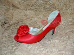 Sweet Red Cloth Upper Peep Toe Stiletto Heels Wedding/Bridal Shoes : Tidebuy.com