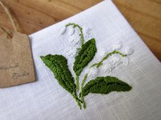 Lily of the valley hand embroidered handkerchief white wedding