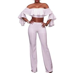 8a75583b0ab Off Shoulder Ruffles Short Sleeve Bodycon Jumpsuits Party Romper With Belt  - White - C617AAUK0AA