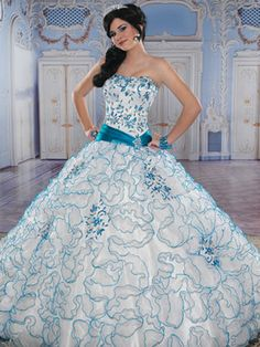 Blue Quinceanera Dresses - Blue And White Floral Dress