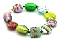 """Venetian Murano glass beaded bracelet- Hand made using the """"Lampwork"""" glass making technique. Italian jewelry -glass art jewelry from Venice. Has a matching necklace - Visit our facebook Shop to purchase for $95AU includes FREE SHIPPING  https://www.facebook.com/DaVinciDesignerJewellery"""