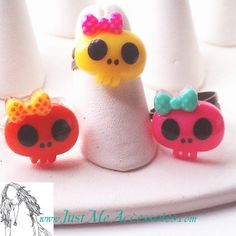 Cute Kawaii, Bright & Colorful Skull with Bow Adjustable Rings (set of 3)