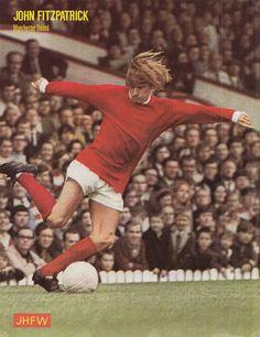 Circa 1969; Manchester United utility back John Fitzpatrick, at Old Trafford. Old Trafford, Manchester United, Old Things, Soccer, The Unit, Football, Times, Futbol, Futbol