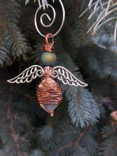 Boho Angel Ornament, Guardian Angel Ornament, Memorial Ornament, Christmas Tree Angel Ornament, Stocking Stuffer Under 15, Gift for Coworker