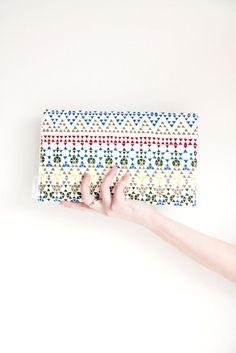 Triangles  Geometric print clutch purse carry all by MirkaDesign, $38.00