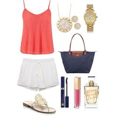 Spring outfit by ktanner02 on Polyvore featuring polyvore, fashion, style, maurices, Jack Rogers, Longchamp, Michael Kors, House of Harlow 1960, Estée Lauder and MAKE UP STORE