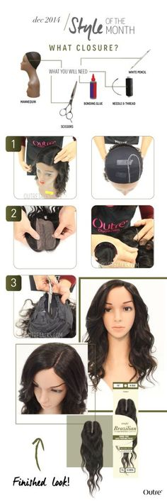 How To: Apply Lace Closure On a U Part Wig :http://www.outretalks.com/how-to-apply-lace-closure-on-a-u-part-wig/
