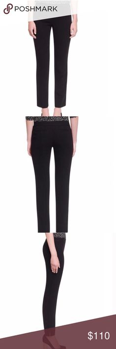Tory Burch Rosetta Pant A banded no-fly waistline streamlines the fit of classic straight-leg trousers. Slightly cropped hems help multiply footwear styling options. Tory Burch Pants
