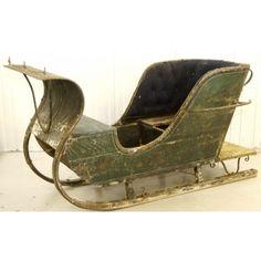 1800s Real Swedish Antique Green Single Sleigh