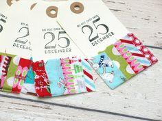 SALE Christmas Gift Tags/ Christmas Fabric by peonyrosehandmade
