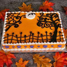 ele Cake Co Gateau Theme Halloween, Bolo Halloween, Halloween Birthday Cakes, Birthday Sheet Cakes, Halloween Sweets, Halloween Baking, Fall Birthday, Halloween Cupcakes, Halloween Food For Party