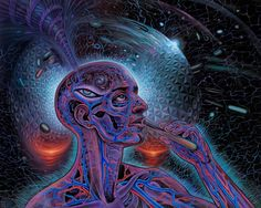 """Alex Grey is known for his paintings of glowing anatomical human bodies, that """"x-ray"""" multiple layers of reality; an integration of body, mind, and spirit."""