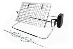 Large flat rotisserie with basket and spit - BraaiShop.