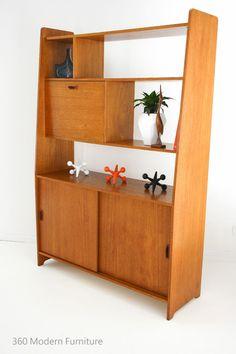 Mid Century Teak Sideboard Room Divider Buffet Cabinet Drop Down Cocktail Bar / Book Shelves / Hall Stand | 360 Modern Furniture