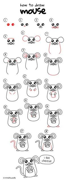 How to draw Mouse. Easy drawing, step by step, perfect for kids! Let's draw kids. http://letsdrawkids.com/