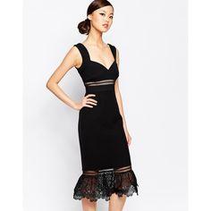 Self Portrait Olivia Midi Dress (1,590 PEN) ❤ liked on Polyvore featuring dresses, black, peplum midi dress, empire dress, black peplum dress, v neck lace dress and black lace dress