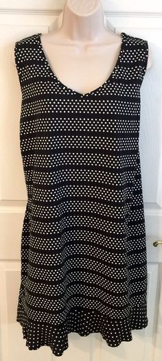 LANDS END Womens Plus Dress SZ 3X 24W - 26W SWIM COVER-UP Black Polka Dot Tunic  | eBay