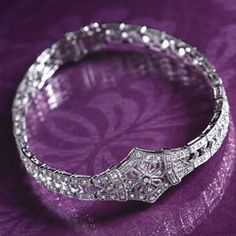 14k Gold And Diamond Art Deco Bracelet