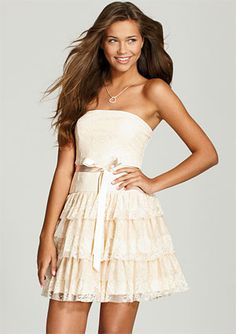 So Pretty! nude lace and mesh tiered dress item#304374 $59.50 www.store.delias.com