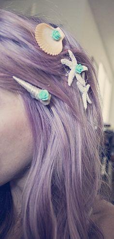 Hair clips, mermaid, seashells, DIY, crafts, do it yourself