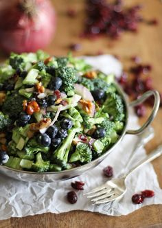 Broccoli Salad with Blueberries, Dried Cranberries, and Honey-Toasted Walnuts.